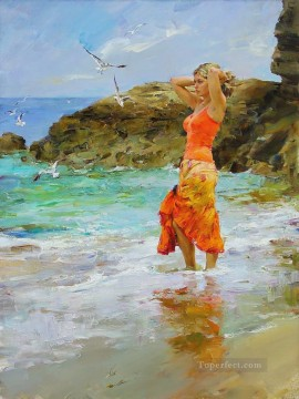 Pretty Girl seagull beach MIG 41 Impressionist Oil Paintings