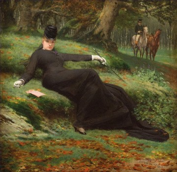 Women Painting - Rendez vous in the Bois de Boulogne Jan van Beers woman