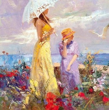 Seagull Pino Daeni beautiful woman lady Oil Paintings