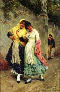 Women Painting - The Flirtation lady Eugene de Blaas beautiful woman lady