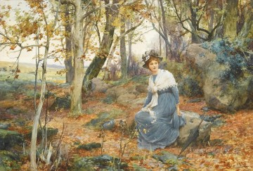 Women Painting - Woman Sitting in Woods Alfred Glendening JR girl autumn landscape beautiful lady