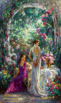 Women Painting - afternoon tea girls beautiful woman lady
