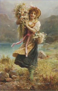 Women Painting - flower girl 1 Hans Zatzka beautiful woman lady