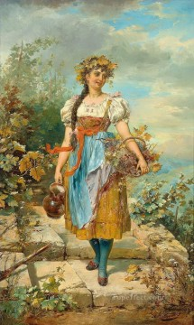 girl with grape basket Hans Zatzka beautiful woman lady Oil Paintings