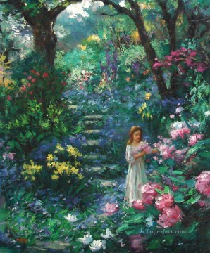 girl woods flowers Oil Paintings