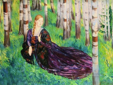 in the birch forest Boris Mikhailovich Kustodiev beautiful woman lady Oil Paintings