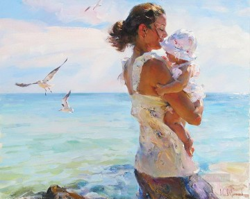 baby works - mother and baby on beach seagulls 44 Impressionist