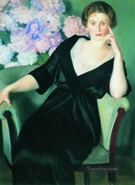 portrait of rene ivanovna notgaft 1914 Boris Mikhailovich Kustodiev beautiful woman lady Oil Paintings