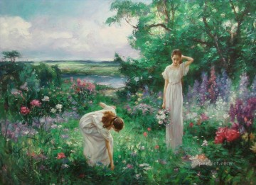 two girls picking flowers beautiful woman lady Oil Paintings