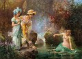 A Water Idyll Hans Zatzka beautiful woman lady