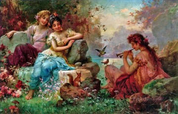 Women Painting - Charming The Animals Hans Zatzka beautiful woman lady
