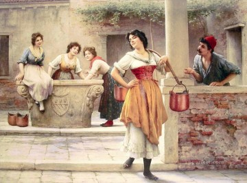 Women Painting - Flirtation at the Well lady Eugene de Blaas beautiful woman lady