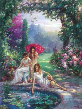 Koi Pond girls beautiful woman lady Oil Paintings