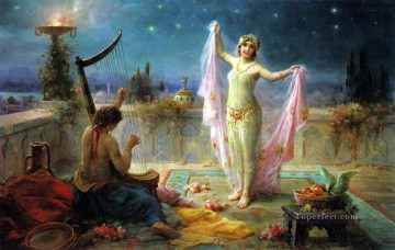 Moonlight Serenade Hans Zatzka beautiful woman lady Oil Paintings