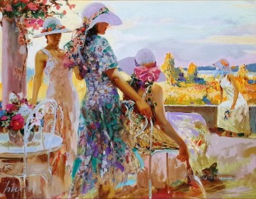 On the Terrace Pino Daeni beautiful woman lady Oil Paintings