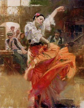Pino Daeni dancer beautiful woman lady Oil Paintings