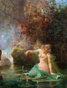 Women Painting - Venus and goldfish Hans Zatzka beautiful woman lady