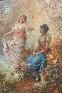 Women Painting - claudio boltiansky spring time Hans Zatzka beautiful woman lady