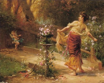 floral angel with girl Hans Zatzka beautiful woman lady Oil Paintings