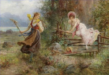 floral girls countryside Hans Zatzka beautiful woman lady Oil Paintings