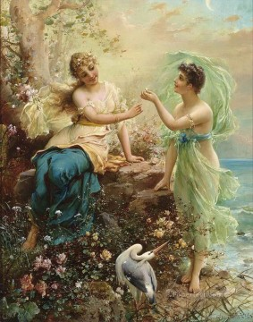 Women Painting - floral girls with a bird Hans Zatzka beautiful woman lady