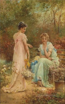 Women Painting - flower girls 3 Hans Zatzka beautiful woman lady