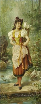 girl with basket of rabbits Hans Zatzka beautiful woman lady Oil Paintings