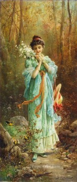 girl with flowers and birds Hans Zatzka beautiful woman lady Oil Paintings