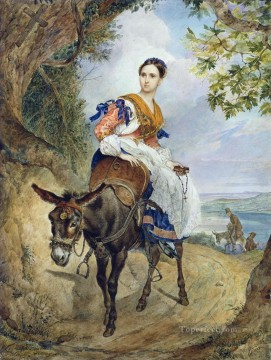 Women Painting - portrait of o p ferzen on a donkeyback Karl Bryullov beautiful woman lady