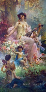 Women Painting - beauty playing guitar and floral angels Hans Zatzka beautiful woman lady