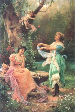 floral angel and ladies Hans Zatzka beautiful woman lady Oil Paintings