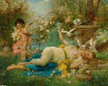 floral angel and nude Hans Zatzka beautiful woman lady Oil Paintings