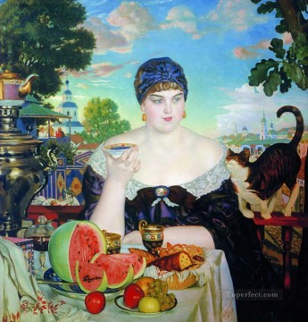 the merchant s wife at tea 1918 Boris Mikhailovich Kustodiev beautiful woman lady Oil Paintings
