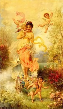 Women Painting - The Goddess Of Spring Hans Zatzka beautiful woman lady