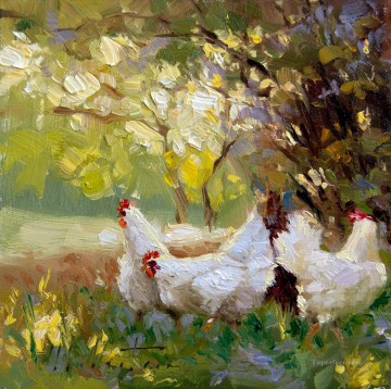 Friend Chickens with palette knife Oil Paintings