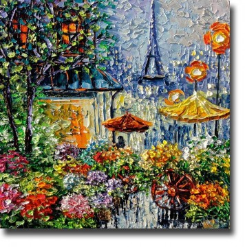 PARIS PAINTING palette with palette knife Oil Paintings