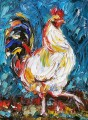 cock thick paints blue with palette knife