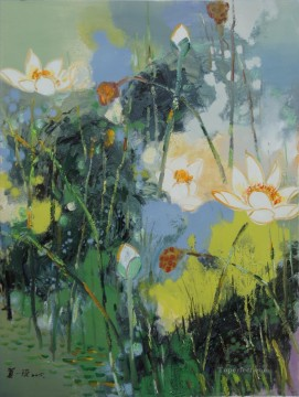 By Palette Knife Painting - lotus 7 by knife