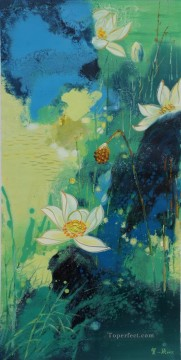 By Palette Knife Painting - lotus 8 by knife