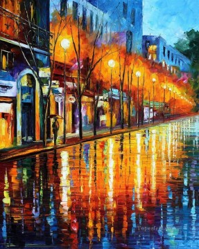By Palette Knife Painting - paris street impasto with palette knife