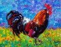 red flowers rooster with palette knife
