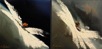 skiing two panels in cream KG by knife Oil Paintings