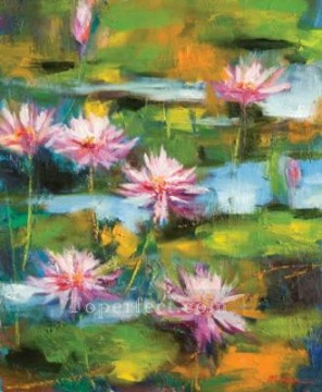 By Palette Knife Painting - the dance of lotus by knife