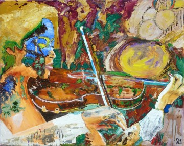 violin fantasy with palette knife Oil Paintings