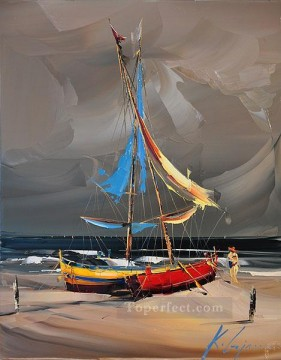 By Palette Knife Painting - two boats KG by knife
