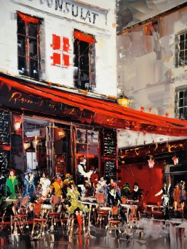 By Palette Knife Painting - KG Le Consulate Terrasse Montmartre Paris with palette knife