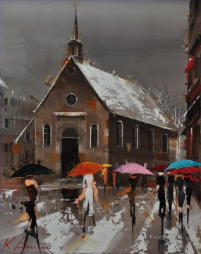 By Palette Knife Painting - Umbrellas of Quebec KG by knife