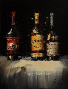By Palette Knife Painting - Wine in black 3 KG by knife