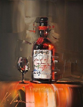 By Palette Knife Painting - Wine in brown KG by knife