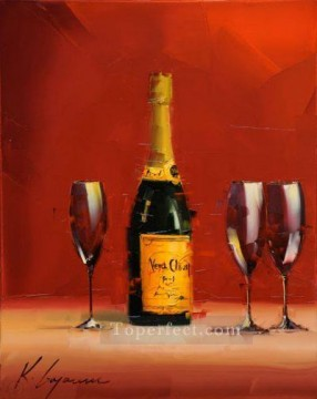 By Palette Knife Painting - Wine in red KG by knife